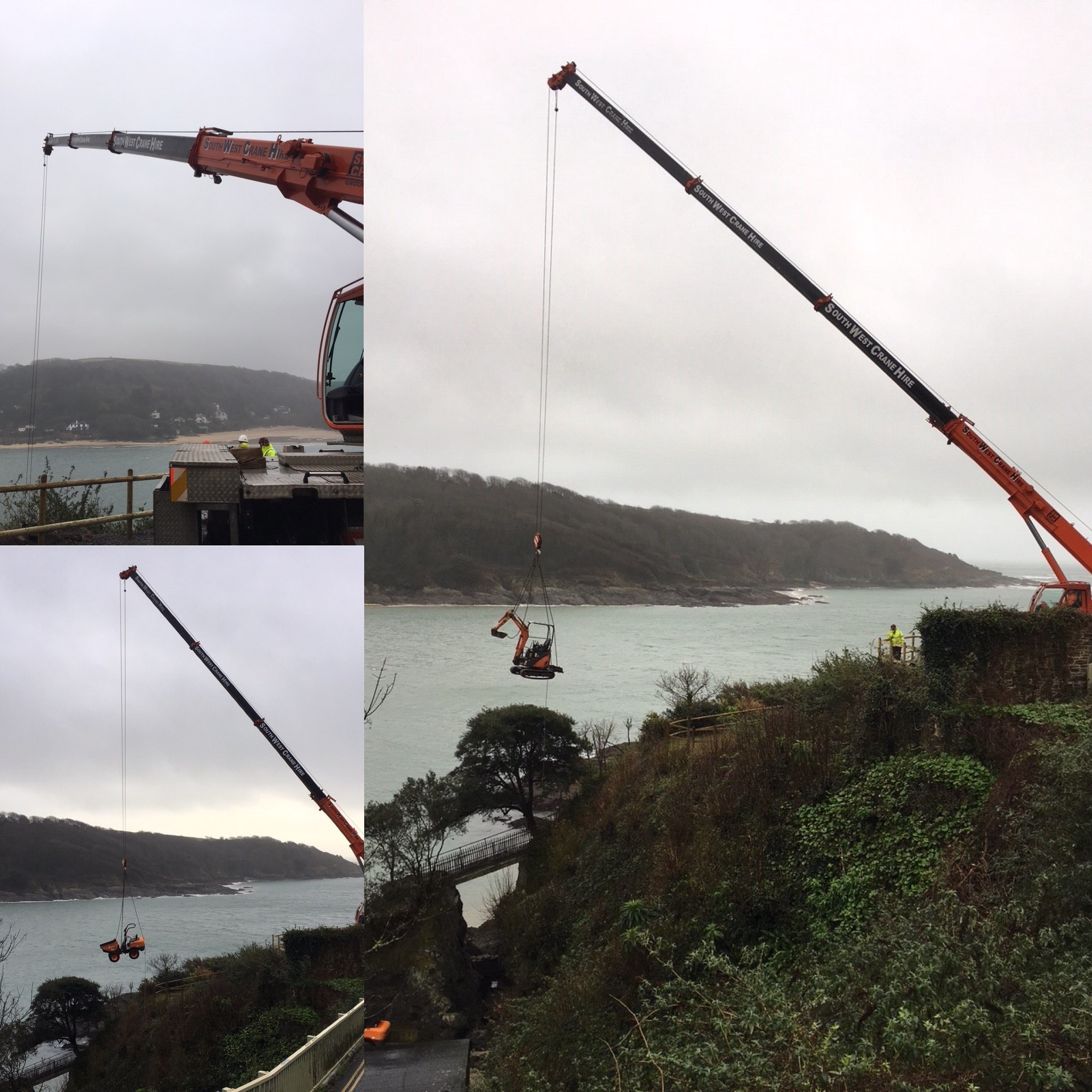 Structural engineering solution to awkward site; cranes lifting machinery down cliff to foreshore