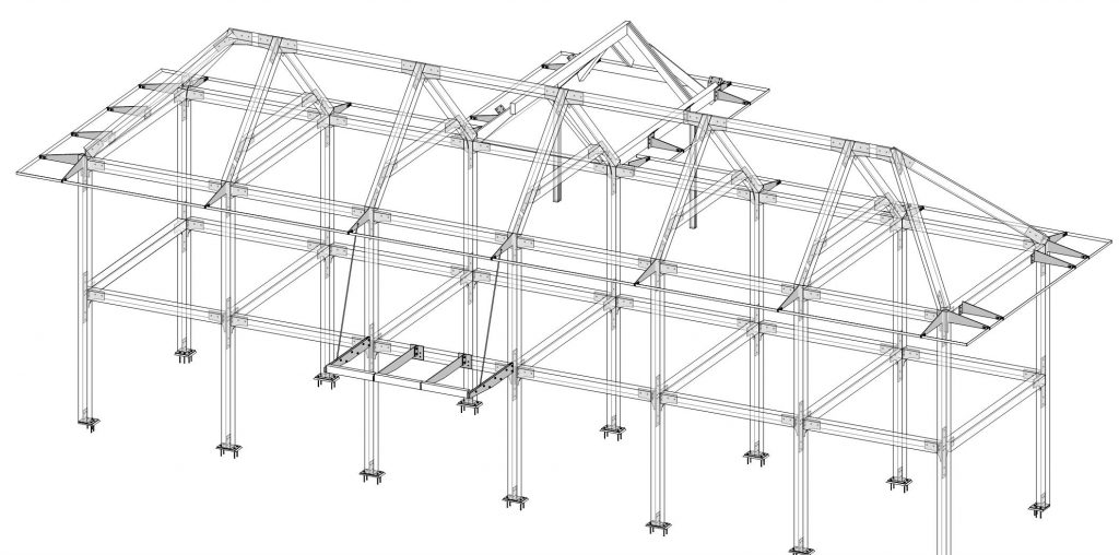 Boathouse timber frame 3D